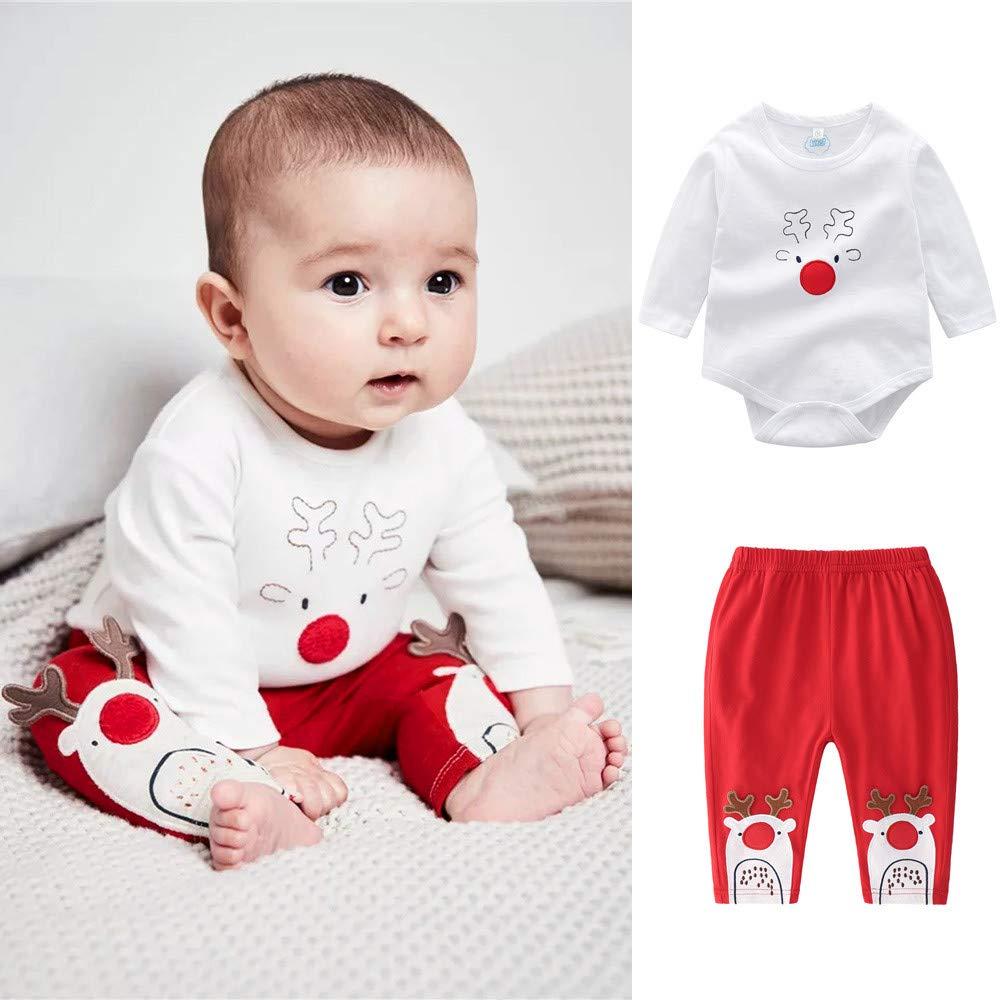 FTXJ 2PCS Infant Baby Boys Girls Cartoon Christmas Xmas Deer Romper Pants Outfits Set