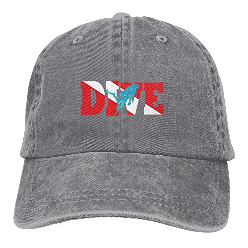Diver Hat (Scuba Diving Flag Glitter Diver Classic Unisex Baseball Cap Adjustable Washed Dyed Cotton Ball Hat Ash)