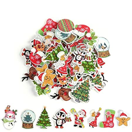 Yinew Christmas Wood Xmas Buttons Craft Card Making Embellishments 2 Holes Wooden Button For Sewing Crafting Pack Of 50