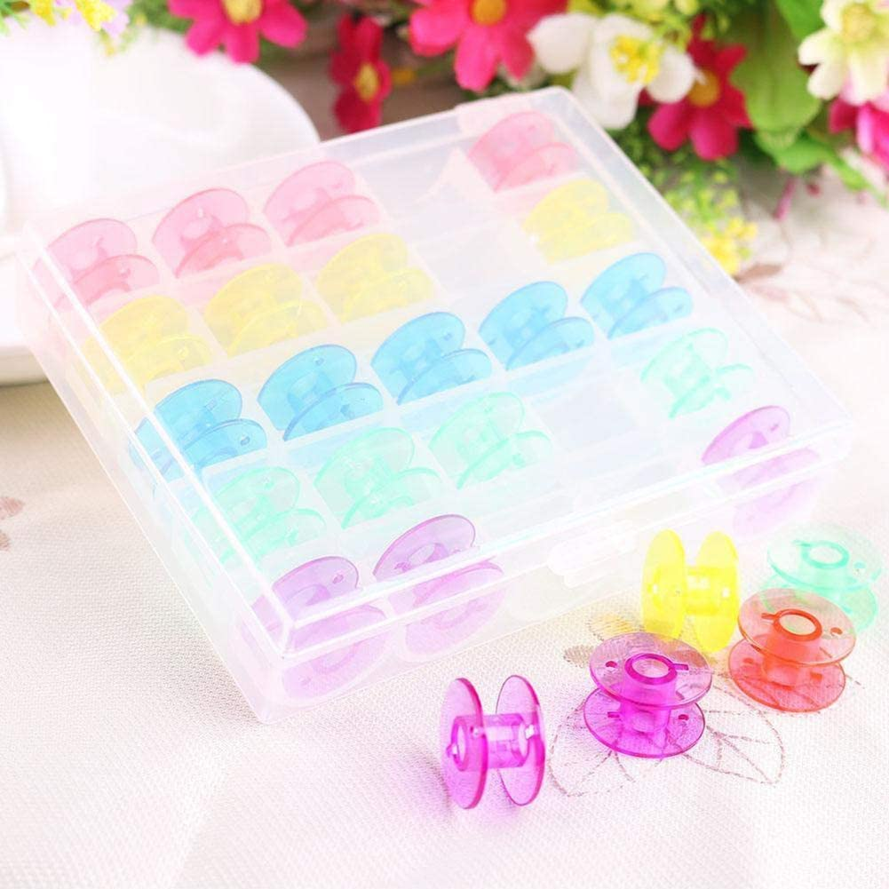 liyhh 25Pcs//Box Household Coils Plastic Reel Part Bobbin Storage Case Sewing Machine Tool Sent at Random