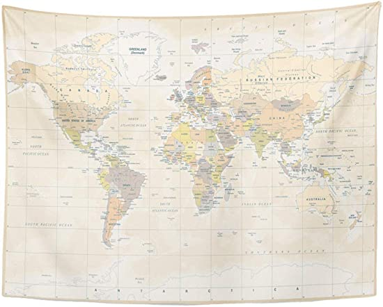Tarolo Decor Wall Tapestry Beige Vintage Political Physical Topographic Colored World Map Yellow Globe Outline 80 x 60 Inches Wall Hanging Picnic for Bedroom Living Room Dorm