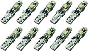 Iusun 10PC T5 LED Car Auto LED 3SMD Wedge LED Light Bulb Lamp Dash Board Instrument Car Decorative Car Replacement Lamp Accessory