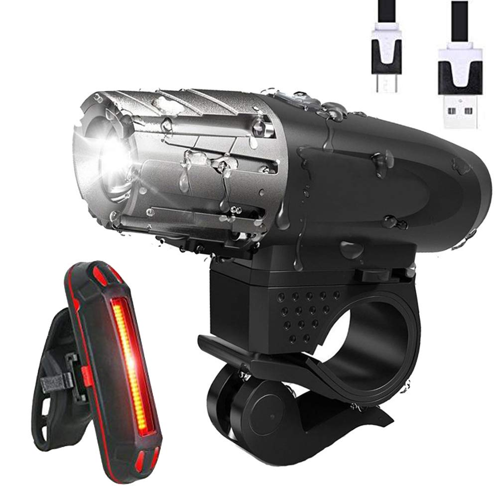 YOSKY USB Rechargeable Bike Light Set - 300 Lumens Powerful LED Bicycle Headlight and Tail Light- Super Bright Bike Front Light and Rear Light for Safe Night Riding