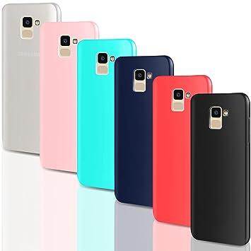 Leathlux [6 Packs Funda para Samsung Galaxy J6 2018, Carcasas Juntas Ultra Fina Silicona TPU Gel Colores Case Cover para Samsung Galaxy J6 2018-5.6