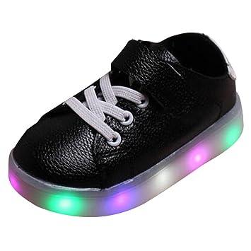 hibote Toddler Boys Girls LED Light Up Shoes Black Size 30