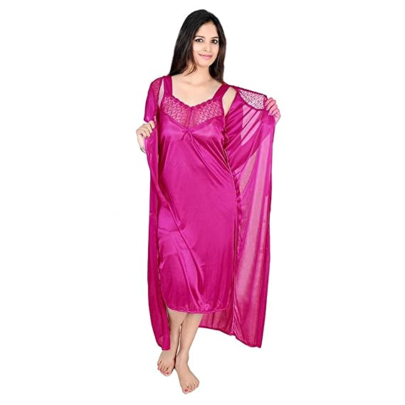 47aa92081d RamE- 2 PC Pink Colour Satin Nighty,Night Dress: Amazon.in: Clothing &  Accessories