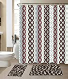 Luxury Home Collection 15 Pc Bath Rug Set ChennileWith High Piles Multi color Non-Slip Bathroom Rug Mats And Shower Curtain And Rings'' Hooks'' New (Brown/Taupe/White)