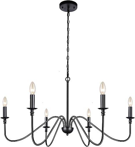 Amazon.com: Lampundit 6-Light Iron Chandelier Black Farmhouse Chandelier  Classic Candle Ceiling Pendant Light Fixture for Kitchen Island Dining Room  Living Room Foyer Barn: Home ImprovementAmazon.com