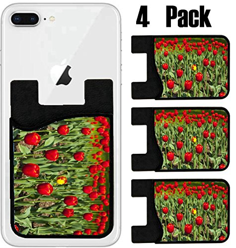 MSD Phone Card holder, sleeve/wallet for iPhone Samsung Android and all smartphones with removable microfiber screen cleaner Silicone card Caddy(4 Pack) View over a beautiful large red tulip bed in a by MSD