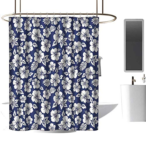- Shower Curtains Hooks Brushed Nickel Hawaii,Hibiscus Silhouettes Flowering Mallow Family Plant Exotic Summer Season Foliage,Navy Blue White,W108 x L72,Shower Curtain for clawfoot tub