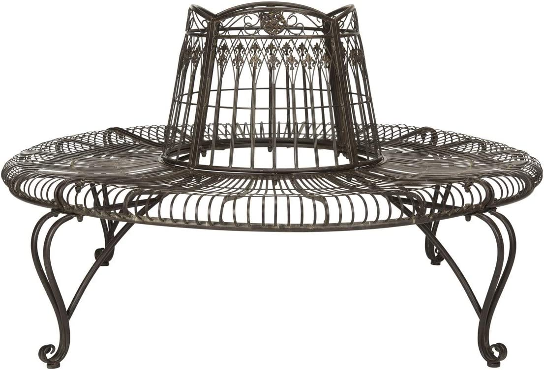 Safavieh PAT5019A Collection Abia Antique White Wrought Iron 50 Outdoor Tree Bench