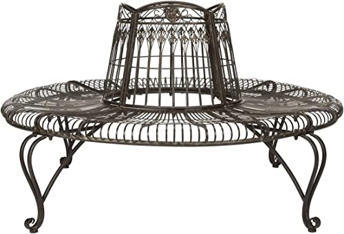 """Safavieh PAT5019A Collection Abia Antique White Wrought Iron 50"""" Outdoor Tree Bench"""