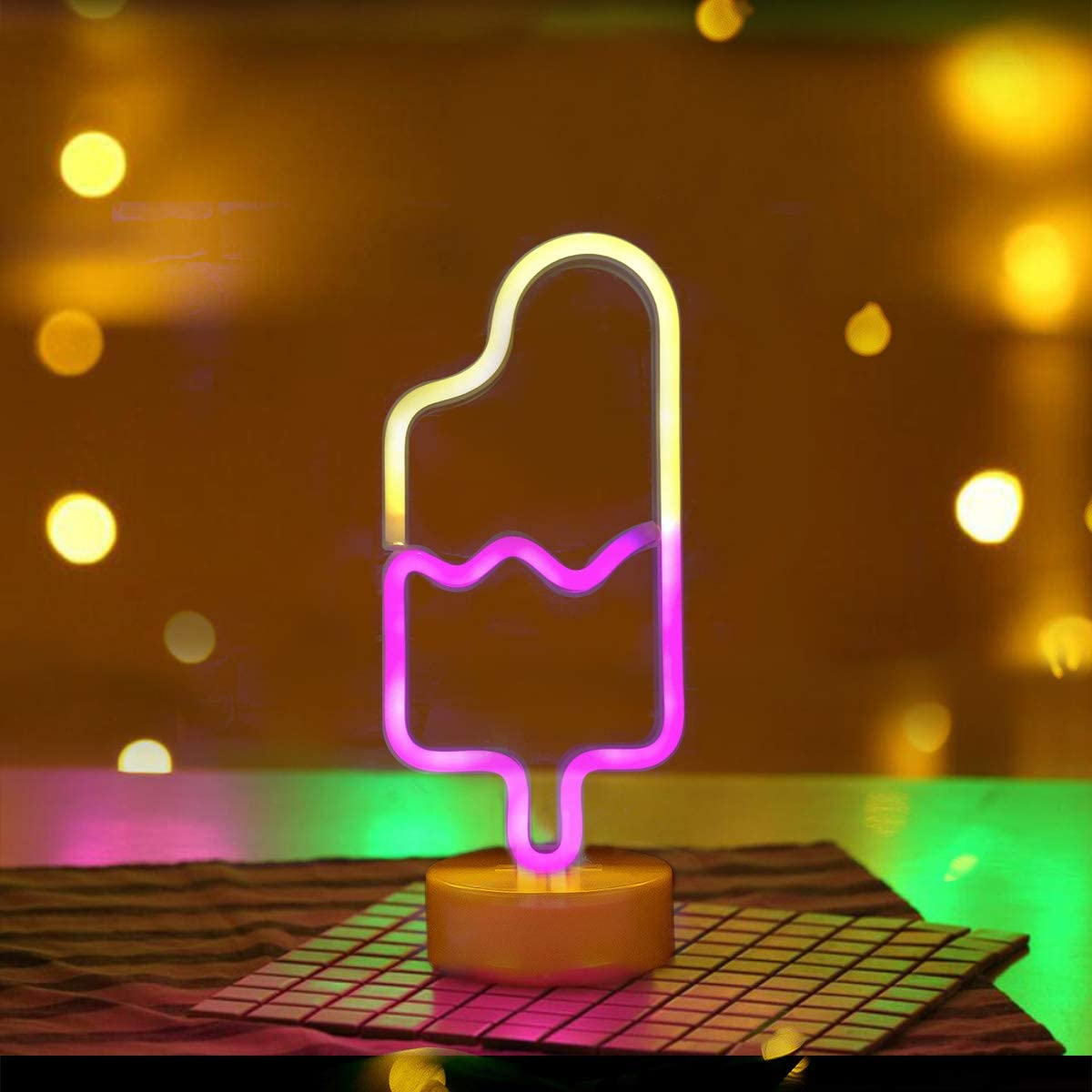 Battife Neon Signs Popsicle LED Light with Holder Base USB or Battery Operated Table Night Lamp for Bedroom,Home Party Decorations Gifts