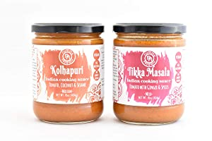 Kolhapuri & Tikka Masala|Vegan Indian Cooking Sauces 2-Pack|No Added Sugar;Certified Vegan|