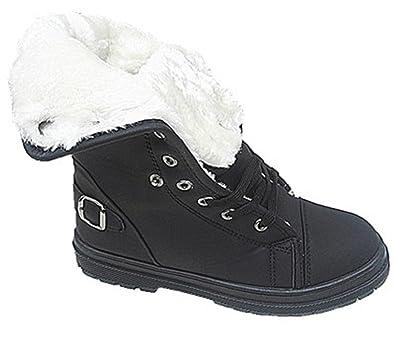 b57bf6a4804e7 fashionfolie Femme Baskets Montante Bottines Fourrure Fille Boots FOURRÉE  Mode Chaud 669 Noir (36)