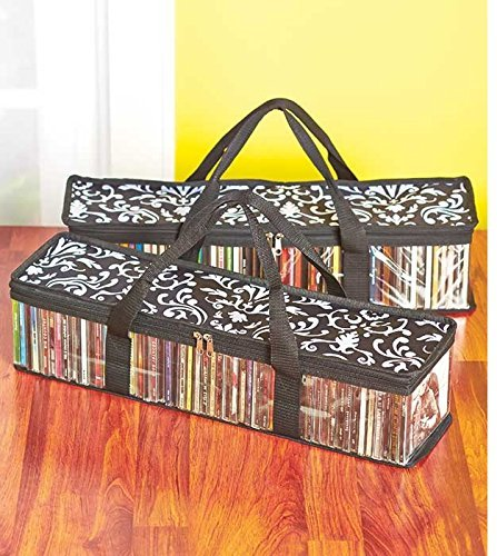 Set of 2 Oriental Art Cd Storage Bags (Holds 50 Cds Each - 100 Total!)