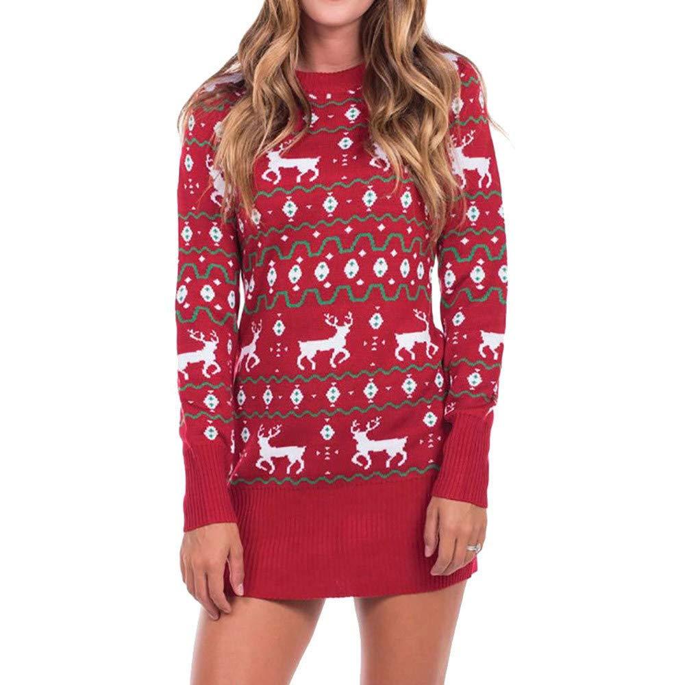 beautyjourney Vestido de Jersey con Estampado navideñ o para Mujer Vestido de Manga Larga con Cuello Redondo Mini Vestido Bodycon Jersey de Blusa Delgada