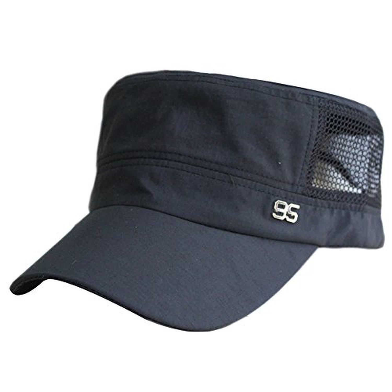 FakeFace Unisex Women Men Adjustable Army Cadet Castro Patrol Baseball Hat  Breathable Cotton Mesh Flat Top Sun Hats Visor Snapback Baseball Cap -  Solid ... 6211914d1782