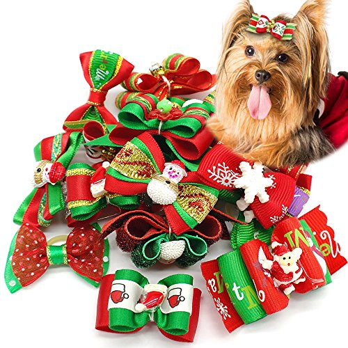 Didog 20pcs Dog Cat Grooming Accessories Hair Bow for Christmas (Pumpkin Bow)