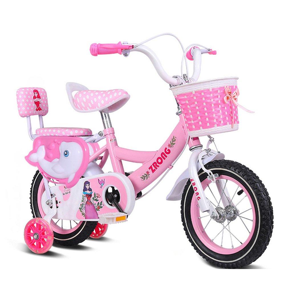 子供用自転車4-7歳の女の子用自転車16インチ子供用ベビーカー高炭素スチール自転車、ピンク/パープル/ブルー (Color : Pink) B07CXJFCZ4