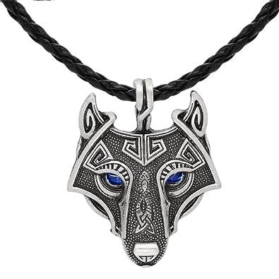 Einzigartige Antik Silber Viking Wolf Anhänger Kopf Halskette mit atemberaubenden  Saphir Blau Augen - Echtes Leder 4039977433