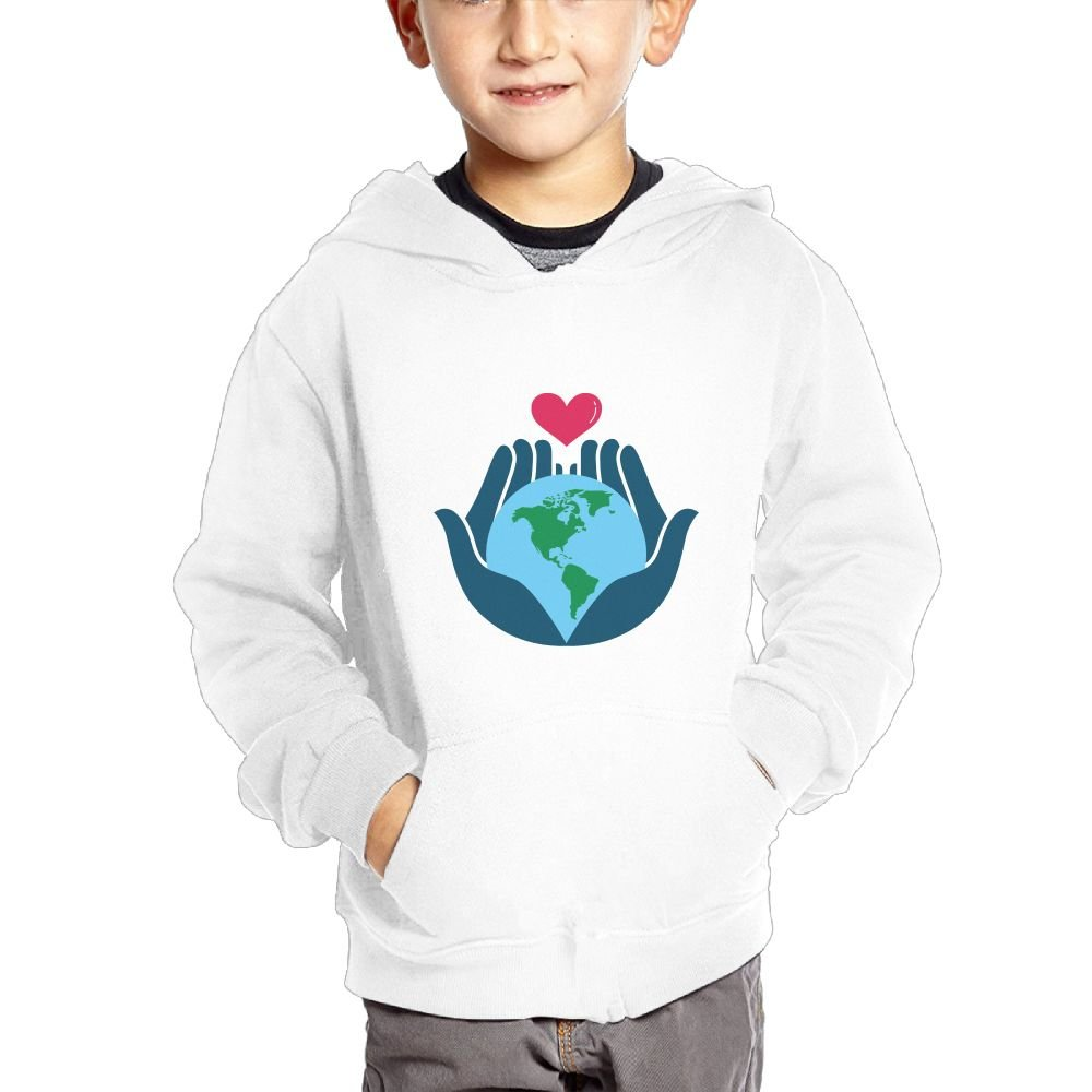 Love Earth with Both Hands Breathable Hooded Pocket Sweater for Children Spring//Autumn//Winter Outfit Long-Sleeved Hoodie