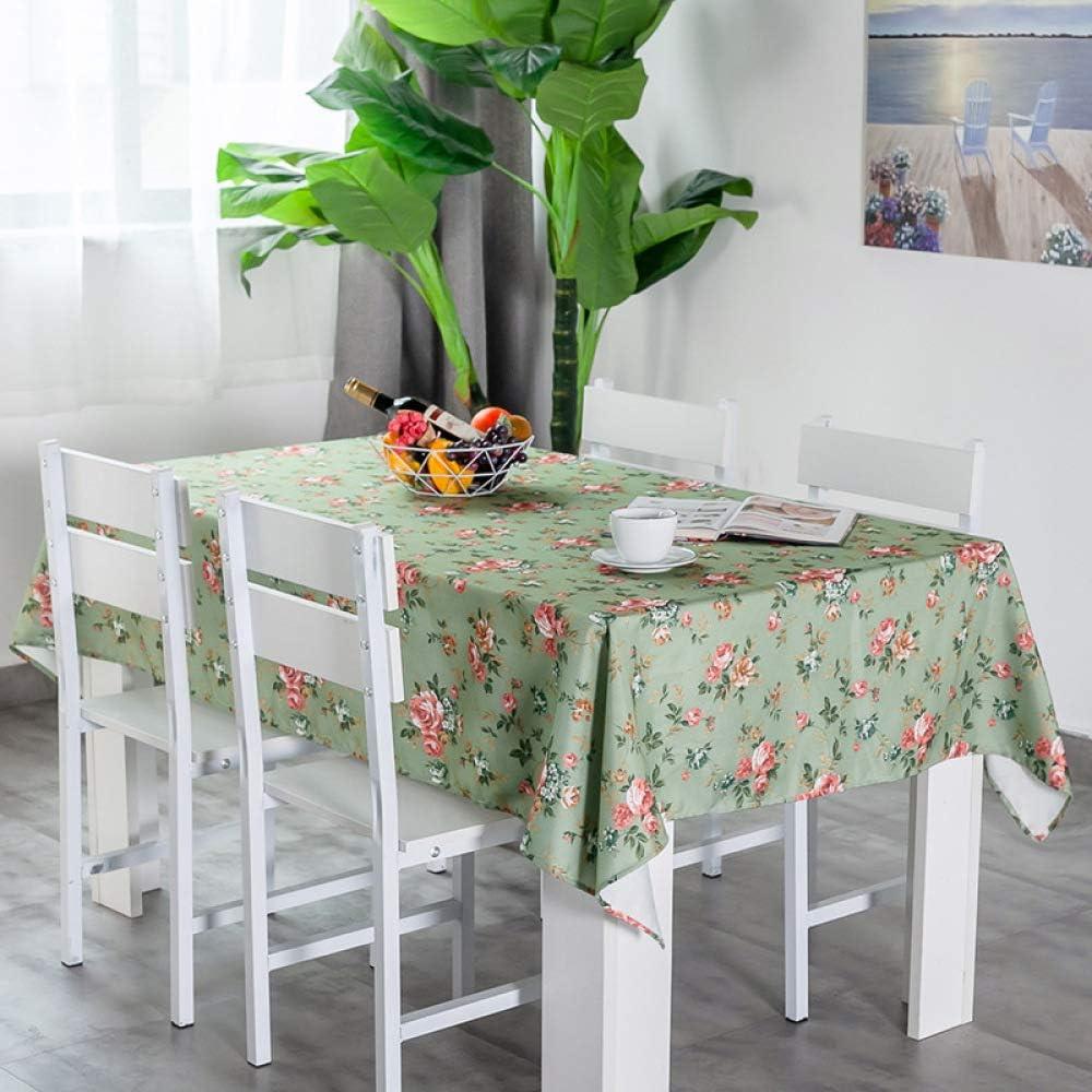 DJUX viento simple algodón lino arte pequeño fresco mesa de café mesa impermeable libre de aceite desechable mantel de mesa redonda, Rosa verde pequeña., 68*68cm