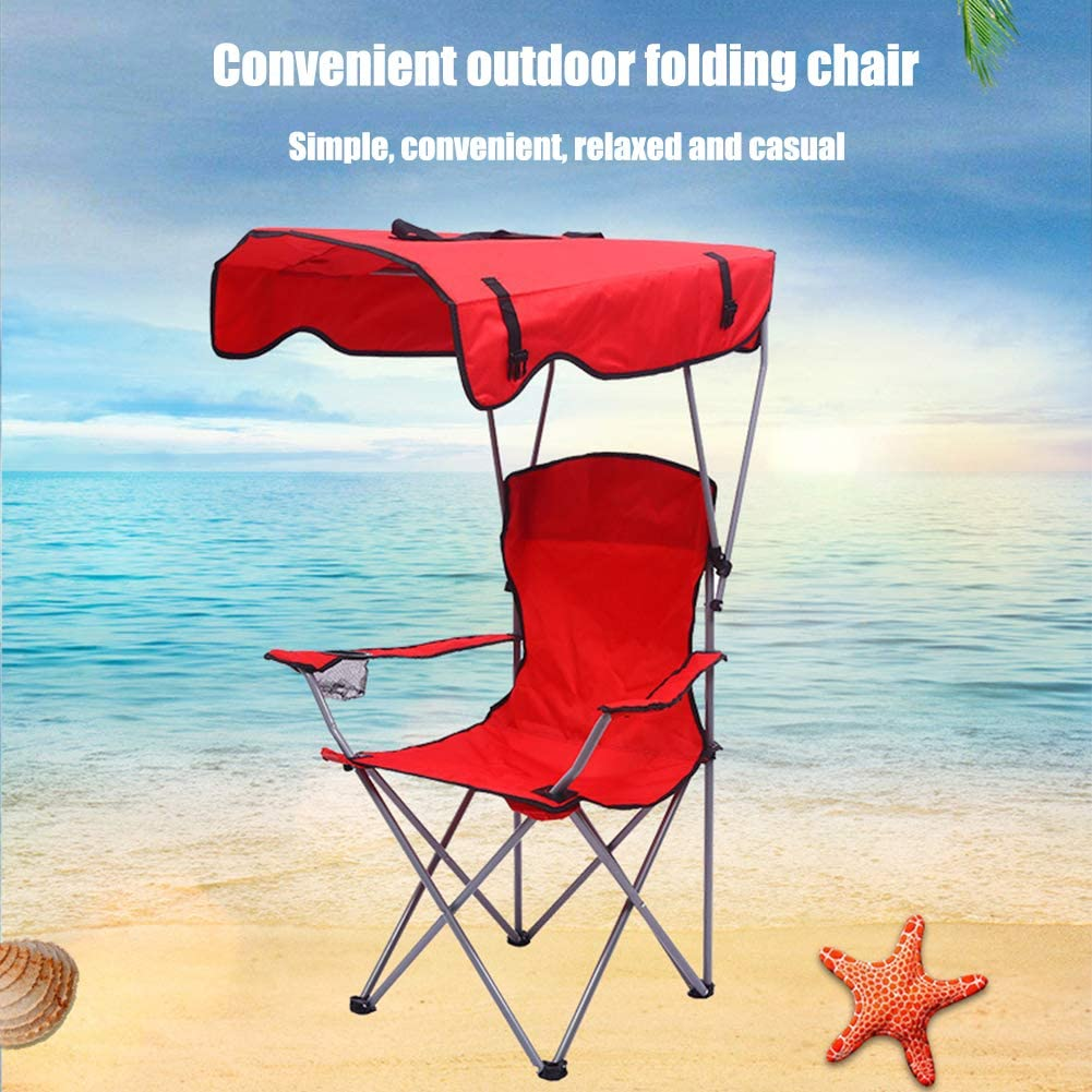 YIDPU Chaise De Camping Pliable,avec Auvent Confortable Et Respirant Solide Et Robuste,Convient pour La Pêche Sauvage Tourisme Balnéaire Camping Jardin,Rouge Red