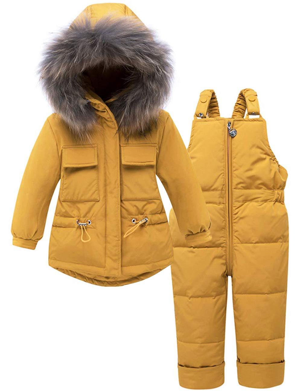 Zoerea Kinder Süß Daunenanzug 2tlg Bekleidungsset Mädchen Verdickte Daunenjacke mit Kaputze Winterjacke + Winterhose