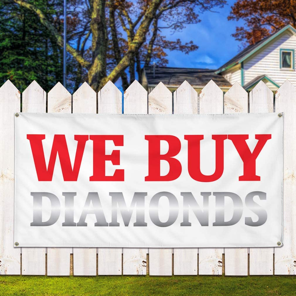 Vinyl Banner Sign We Buy Diamonds #1 Business We Buy Diamonds Marketing Advertising Red 6 Grommets 32inx80in Set of 2 Multiple Sizes Available