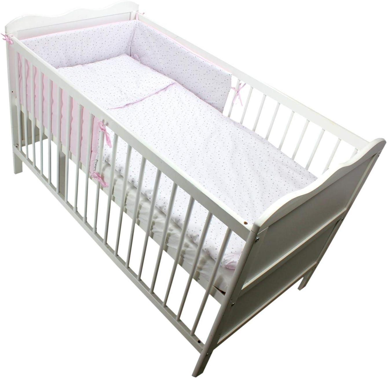TupTam Cot Bed Bedding and Short Bumper Set 70x140-3 piece 3 pcs Set Stars White//Pink