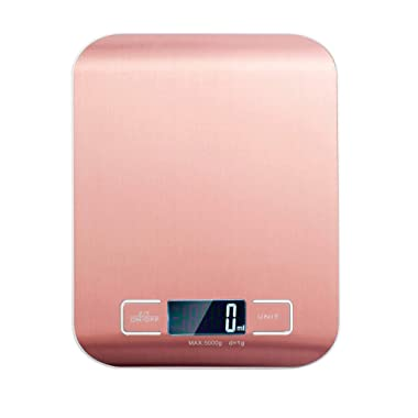 Digital Kitchen Scale, Ovios Food Scale, Maximum Weight 11 lb/5 kg gram Scale, Weight Scale for Food, Stainless Steel, Gold