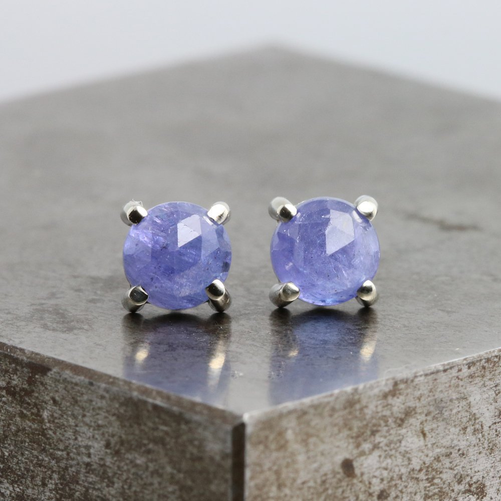 14k White Gold Stud Earrings with Rose Cut Tanzanite