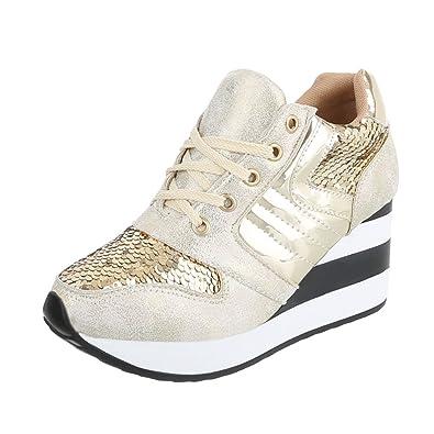 Damen Schuhe Freizeitschuhe Sneakers Beige Gold 40 eSl77lPJTe