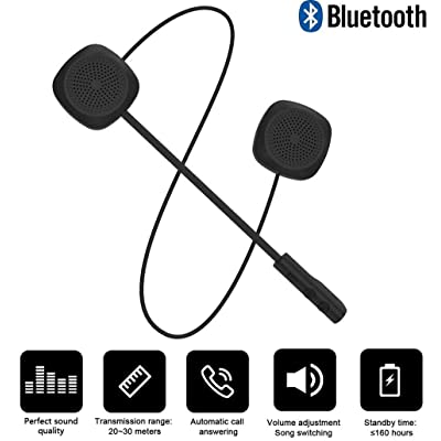 Motorcycle Bluetooth 5.0 Helmet Headset, Music Call Control Hands-Free Microphone Dual Stereo Speaker Hands-Free Bilingual Conversion Headset Black Electronic Phone for Travel: Automotive