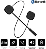 Motorcycle Bluetooth 5.0 Helmet Headset, Music Call Control Hands-Free Microphone Dual Stereo Speaker Hands-Free Bilingual Conversion Headset Black Electronic Phone for Travel