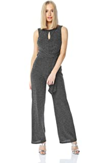 0b8c33371b31 Roman Originals Women Belted Glitter Jumpsuit - Ladies Christmas Evening  Party New Year s Eve Going Out
