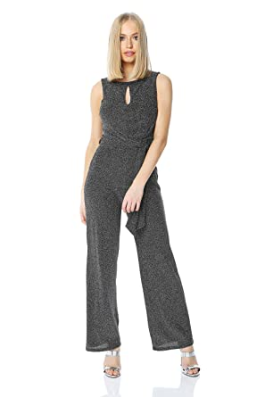 64411195b331 Roman Originals Women Belted Glitter Jumpsuit - Ladies Christmas Evening  Party New Year s Eve Going Out Twist Tie Waist Stretch Sleeveless All-in-One  Romper ...