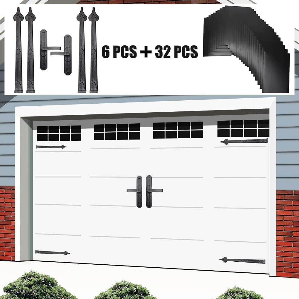 Gulrear Magnetic Garage Door Decorative Hardware kit, 32 pcs Magnetic Windows Panels and 6 Pieces Carriage Accents Faux Hinges Curb Appeal Decor Kit, For Garage Door Magnetic Decorative Hardware,Black