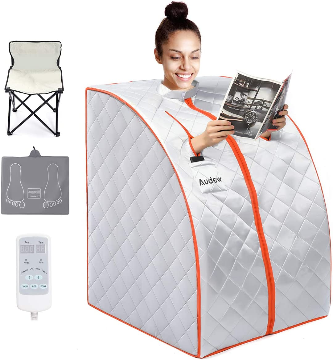 Audew Infrared Sauna Portable Infrared Home Spa, One Person Sauna, Portable Steam Sauna Foldable Sauna Blanket with Carbon Fiber Heating Plate, Fire Cotton, Foot Pad, Foldable Chair, Remote Control