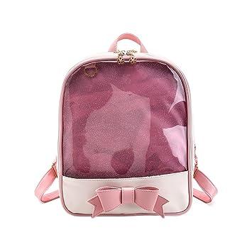 Espeedy Las mujeres verano durce caramelo Color PVC Transparente Mochila Bowknot Zipper Bag Niñas Escuela Mochilas: Amazon.es: Deportes y aire libre