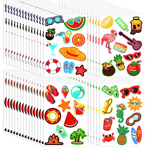 Summer Holiday Stickers Cute Vinyl Stickers Decals Ice Cream Watermelon Stickers for Bottles Flask Computer Decorations, Various Patterns (280)