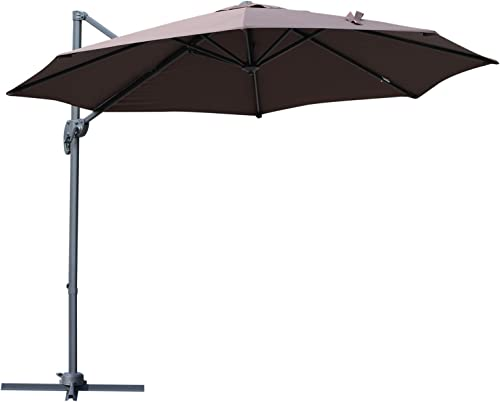 Outsunny 10 Hanging Tilt Offset Cantilever Patio Umbrella with Base Stand – Coffee