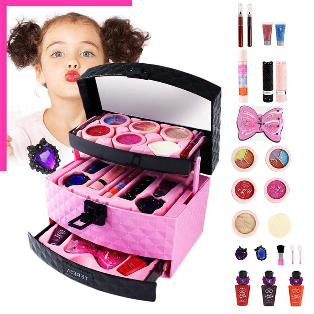 41b8d9f4d143 Amazon.com: Make up Kit Bag Kids Makeup Set 23pcs for Girls three ...