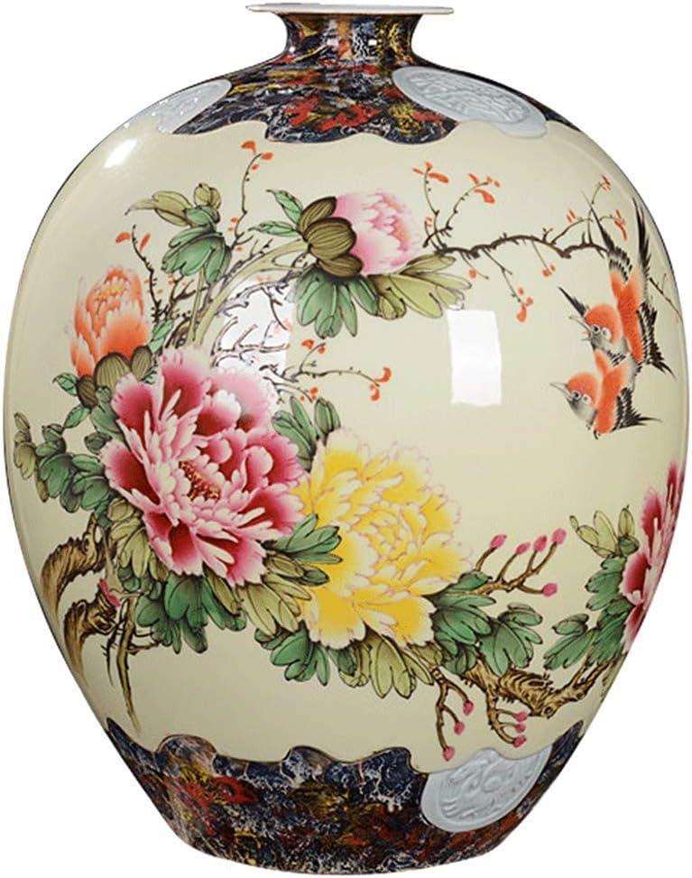 DPPD Floreros, Florero Pintado a Mano Jingdezhen Adornos de cerámica China Salón Arreglo Floral Botella de Granada Artesanías Decorativas (Color: Beige, Tamaño: 43 * 33cm)