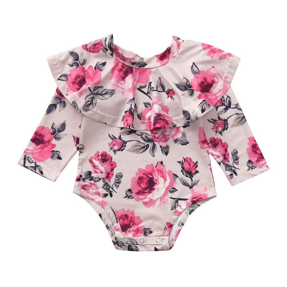 cd92be9d4bfa Amazon.com  Baby Girls Ruffle Romper Newborn Girl Floral Onesie Infant  Toddler Long Sleeve Bodysuit Jumpsuit  Clothing