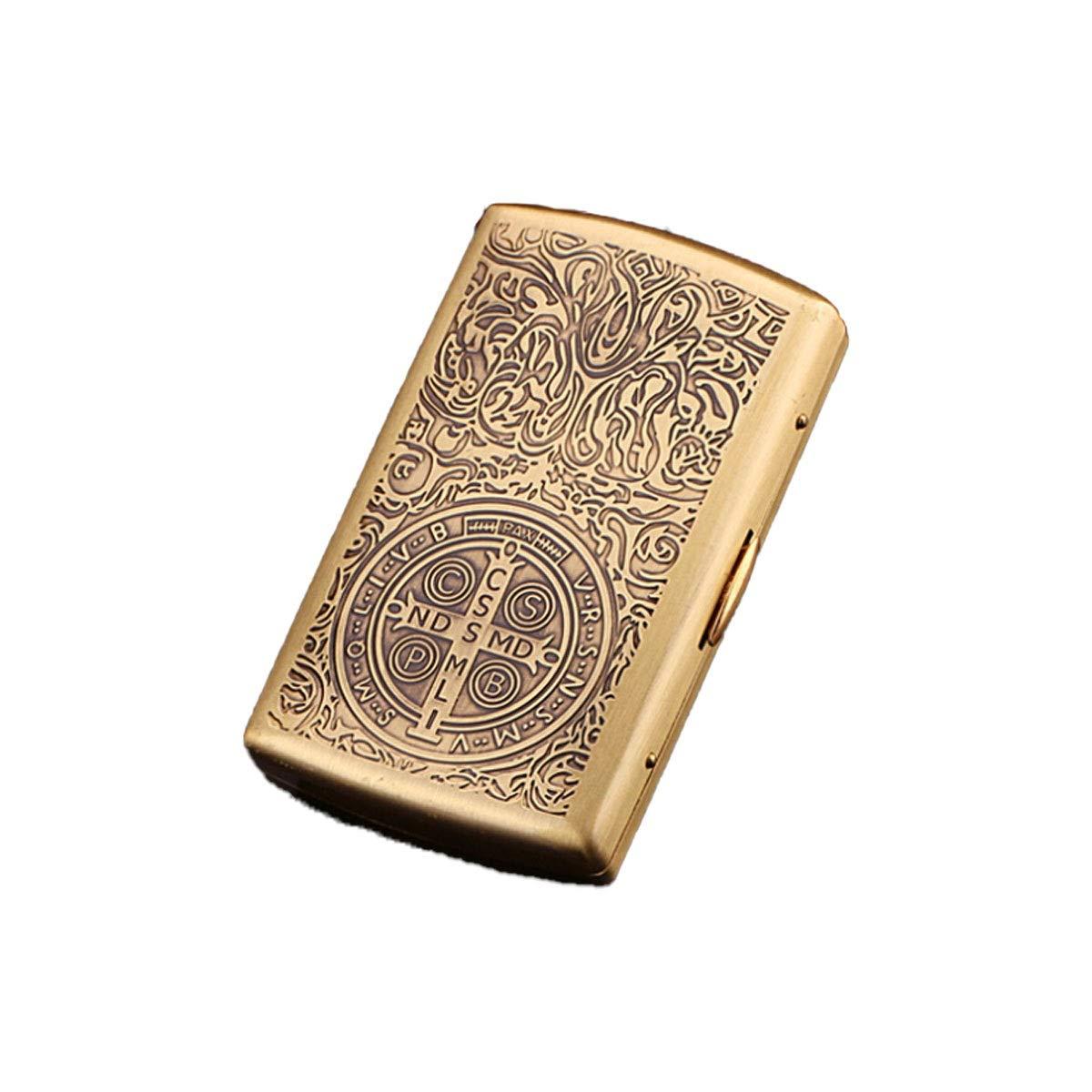 ZHONGYUE Pure Copper Cigarette Case, 12 Capacity, Metal Cigarette Case, Creative Personality Men's Cigarette Case Unique Design, Sturdy and Lightweight. (Color : Gold)