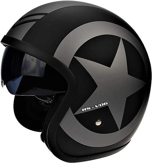 color negro mate Casco de moto Viper RS-V06 Scooter Jet de cara abierta ECE Road LEGAL CRASH GRAPHIC con opci/ón de visera