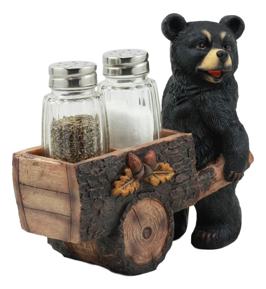Ky & Co YK Black Bear Pushing Vintage Wagon Cart Salt and Pepper Shakers Holder Figurine by Ky & Co