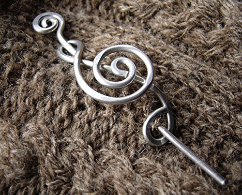 Treble Clef Aluminum Shawl Pin, Knit or Crocheted Scarf Pin, Sweater Brooch, Musician Knitters Gift